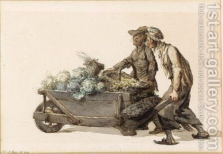 Two Market-Vendors Wheeling A Barrow Full Of Cabbages by Christoffel Meijer - Reproduction Oil Painting
