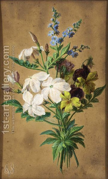 Jasmine, Forget-Me-Nots And Violets by Cornelis van Spaendonck - Reproduction Oil Painting