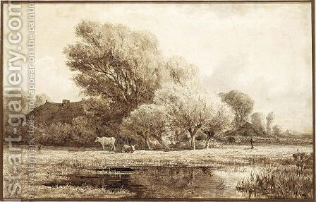A Landscape With Cows Near A Pool by Adriaen van Everdingen - Reproduction Oil Painting
