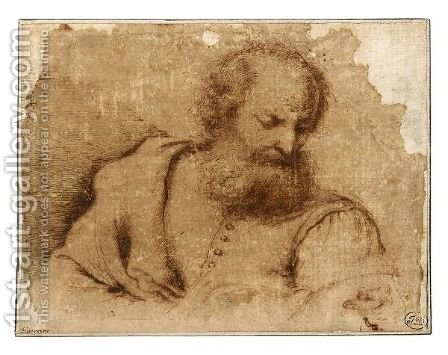 A Bearded Man Holding A Book by (after) Giovanni Francesco Guercino (BARBIERI) - Reproduction Oil Painting