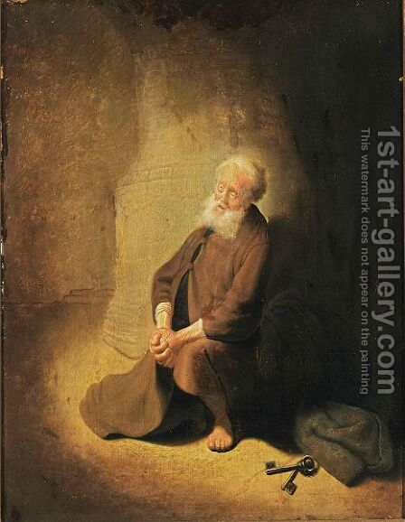 St. Peter Repentant by (after) Harmenszoon Van Rijn Rembrandt - Reproduction Oil Painting