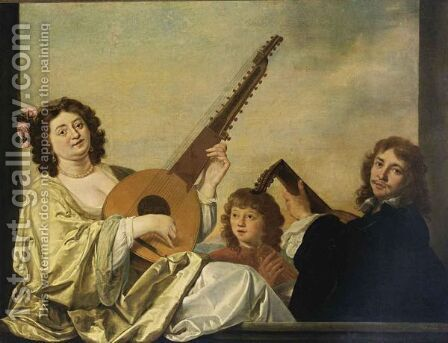 An Elegant Couple Playing A Theorbo-Lute And A Lute Together With A Boy Singing by Isaac Mijtens - Reproduction Oil Painting