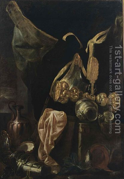 A Still Life With Armour, A Silver-Gilt Cup, A Copper Jug, A Silver Bowl And A Pink Cloth by (after) Peeter Boel - Reproduction Oil Painting