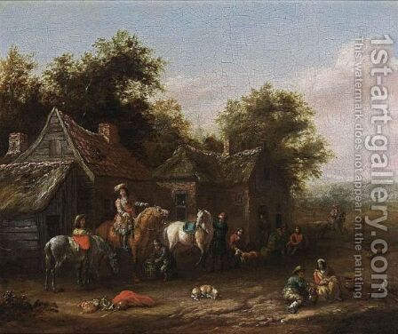 Horsemen Resting Before Houses by Barend Gael or Gaal - Reproduction Oil Painting