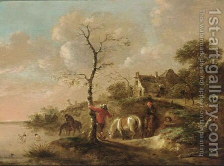 A Wooded Landscape With Travellers Watering Their Horses Near A River, Figures Swimming And A Horseman On A Path Near A Farm by Claes Molenaar (see Molenaer) - Reproduction Oil Painting