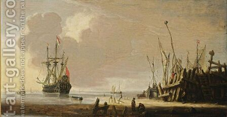 A Man-Of-War In Calm Waters Together With Other Vessels, Other Sailing Boats Moored At A Quay In The Foreground by (after) Hendrick Dubbels - Reproduction Oil Painting