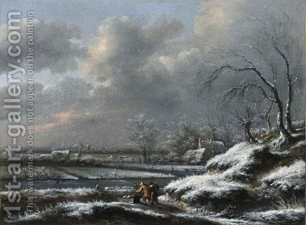 A Winter Landscape With A Man Pushing A Sledge In The Foreground, A View Of Haarlem With The Cathedral Of St. Bavo Beyond by Claes Molenaar (see Molenaer) - Reproduction Oil Painting