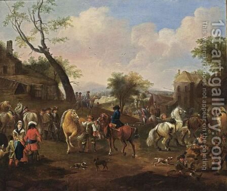 Horsemen Together With Other Horses And Soldiers In A Village, Children Playing In The Foreground by (after) Jan Van Huchtenburgh - Reproduction Oil Painting