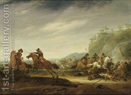 A Cavalry Battle by Jan the Younger Martszen - Reproduction Oil Painting