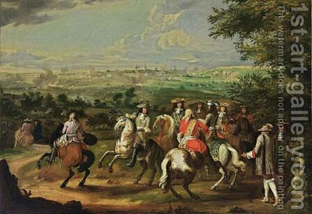 The Arrival Of Louis XIV At The Siege Of Maastricht by (after) Adam Frans Van Der Meulen - Reproduction Oil Painting