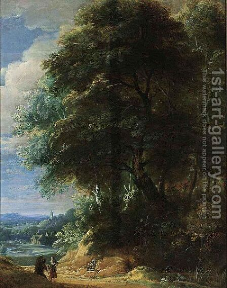 A Wooded Landscape With Two Travellers Conversing On A Path by (after) Jaques D'Arthois - Reproduction Oil Painting
