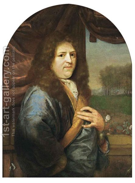 A Portrait Of A Gentleman, Standing Half-Length, Wearing A Blue Orange-Lined Satin Overcoat With White Lace Chemise, In Front Of A Stone Balustrade With A Curtain, A Park Landscape Beyond by Godfried Schalcken - Reproduction Oil Painting