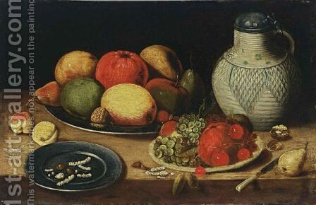 A Still Life With Apples, Pears, An Orange, A Walnut, Grapes, Cherries And Hazelnuts, All On Pewter Plates by (after) Jan Van Kessel I - Reproduction Oil Painting