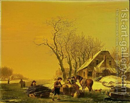 A Winter Landscape With Wood Gatherers Pulling A Sledge, And Merchantmen With Their Horsedrawn Sledge On A Frozen River, A Village Nearby by Jacob van Strij - Reproduction Oil Painting