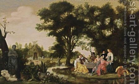 An Elegant Company Eating And Drinking In A Park Landscape by (after) Willem Van Den Bundel - Reproduction Oil Painting