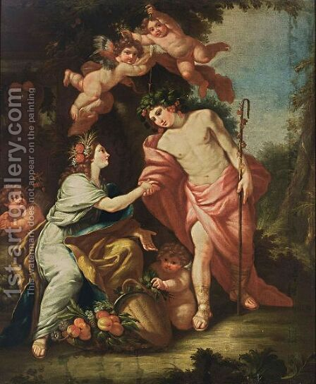 Flora And Zephyr Together With Putti by (after) Simon Vouet - Reproduction Oil Painting