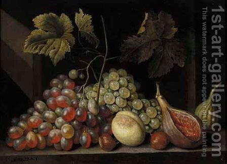 A Still Life With Grapes, Figs, Walnuts And An Apricot, Together On A Stone Ledge by Cornelis De Bryer - Reproduction Oil Painting