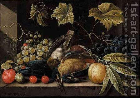 Still Life With Grapes, Plums, Cherries And Songbirds by Cornelis De Bryer - Reproduction Oil Painting