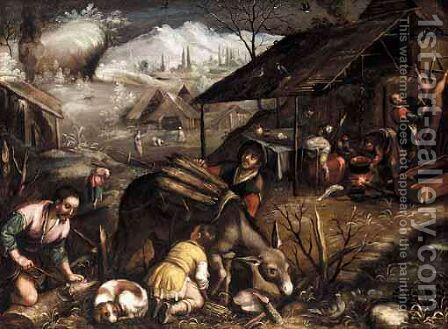 A Winter Landscape by (after) Jacopo Bassano (Jacopo Da Ponte) - Reproduction Oil Painting