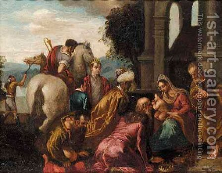 The Adoration Of The Magi 2 by (after) Jacopo Bassano (Jacopo Da Ponte) - Reproduction Oil Painting