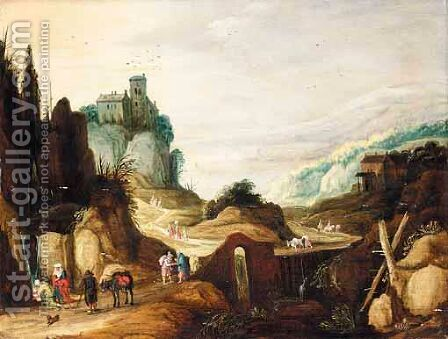 An Extensive Mountain Landscape With Travellers Drinking From A Stream, A Bridge Beyond by (after) Joos Or Josse De, The Younger Momper - Reproduction Oil Painting