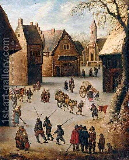 A Village Scene by (after) Jan The Elder Brueghel - Reproduction Oil Painting