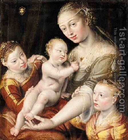 A Mother And Her Children by (after) Jan Massys - Reproduction Oil Painting