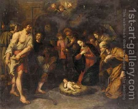 The Adoration Of The Shepherds by (after) Pieter Van Lint - Reproduction Oil Painting