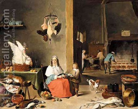 A Kitchen Interior With A Woman Peeling Fruit And Figures Cooking Over A Fire Beyond by (after)  David The Younger Teniers - Reproduction Oil Painting