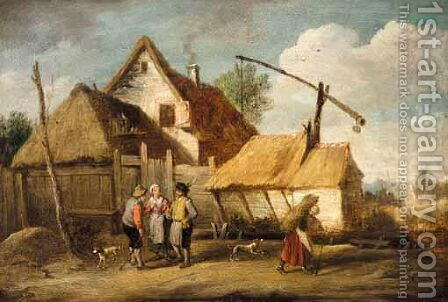 A Landscape With Boors Outside A Cottage by (after)  David The Younger Teniers - Reproduction Oil Painting