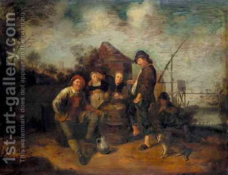 A River Landscape With Boors Smoking, Drinking And Carousing Outside A Cottage by (after) Jan Miense Molenaer - Reproduction Oil Painting