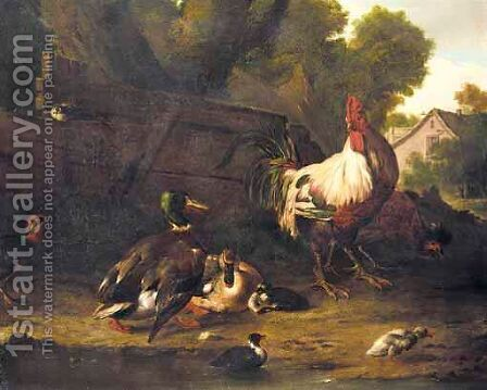 A Farmyard Scene With Chickens, Mallard Ducks And Other Birds, A Cottage Beyond by (after) Adriaen Van Oolen - Reproduction Oil Painting