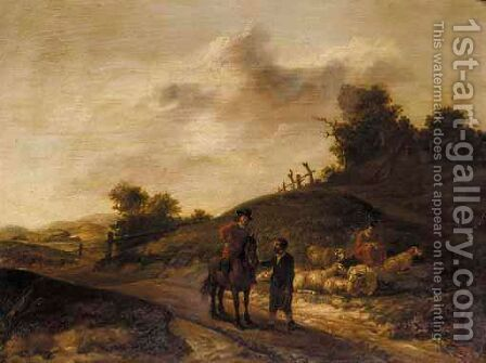 A Landscape With A Shepherd And His Flock by Dutch School - Reproduction Oil Painting