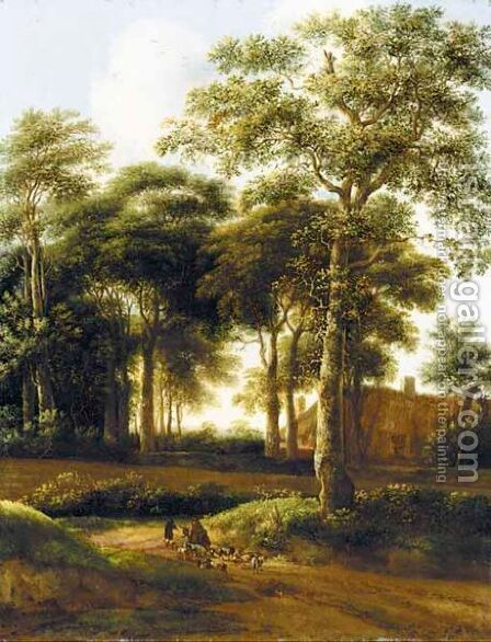 A Wooded Landscape With Drovers On A Track by (after) Pieter Jansz. Van Asch - Reproduction Oil Painting