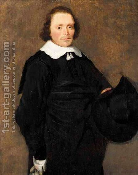 A Portrait Of A Gentleman, Three-Quarter Length, Wearing Black With A White Ruff, Holding A Hat by Haarlem School - Reproduction Oil Painting