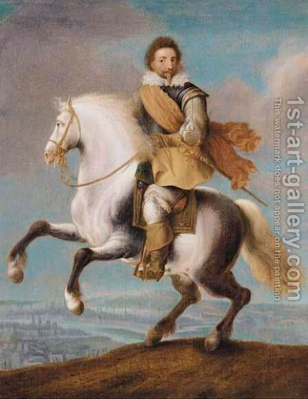 An Equestrian Portrait Of Prince Frederick Heinrich Of The Netherlands (1584-1647) by (after) Pauwels I Van Hillegaert - Reproduction Oil Painting