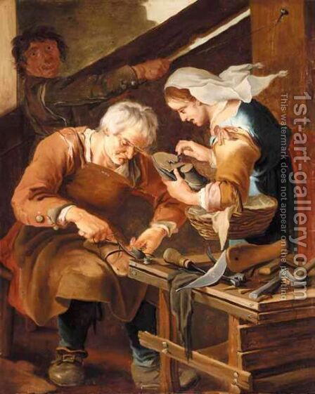 A Cobbler's Shop by (after) Giacomo Francesco Cipper, Il Todeschini - Reproduction Oil Painting