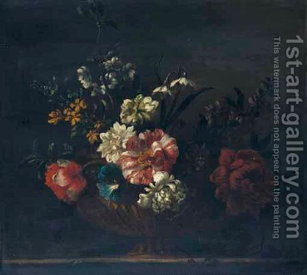A Still Life With Chrysanthemums, Peonies, Morning Glory And Narcissi, In A Gilt Urn, Upon A Stone Ledge by (after) Jean-Baptiste Monnoyer - Reproduction Oil Painting