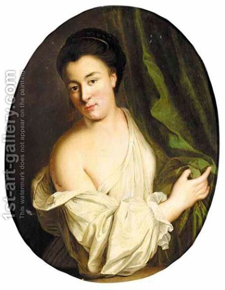 A Portrait Of A Woman, Half Length, Wearing A White Shirt by (after) Jean-Baptiste Santerre - Reproduction Oil Painting