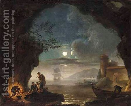 A Moonlit Coastal Landscape With Figures Cooking Over A Fire In The Foreground by (after)  Claude-Joseph Vernet - Reproduction Oil Painting