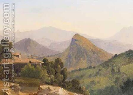 An Italianate Landscape With A Farmhouse, Mountains Beyond by (after) Jean-Joseph-Xavier Bidauld - Reproduction Oil Painting
