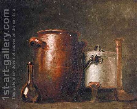 A Still Life With A Pot, A Saucepan, A Candlestick And A Vase by (after)  Jean-Baptiste-Simeon Chardin - Reproduction Oil Painting