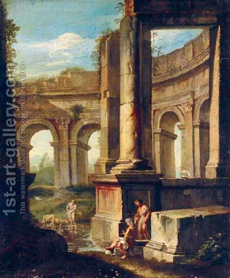 An Architectural Capriccio With Figures Amongst Ruins by (after) Andrea Locatelli - Reproduction Oil Painting
