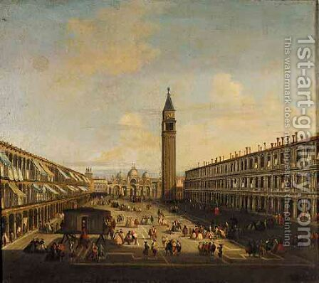 Venice, A View Of The Piazza Di San Marco by (after) Vincenzo Chilone - Reproduction Oil Painting