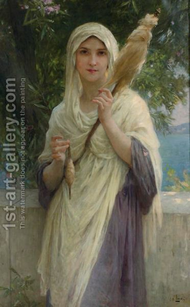 The Spinner By The Sea by Charles Amable Lenoir - Reproduction Oil Painting