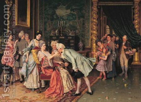 The Courtiere by Arturo Ricci - Reproduction Oil Painting