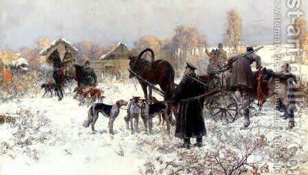 The Hunting Party by Jaroslav Friedrich Julius Vesin - Reproduction Oil Painting