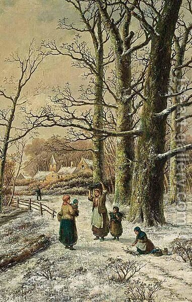 Woodgatherers In A Winter Forest 2 by Hendrik Barend Koekkoek - Reproduction Oil Painting