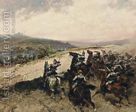 A Battle Scene From The French-Prussian War by Hermanus Koekkoek - Reproduction Oil Painting