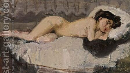 A Reclining Female Nude by Isaac Israels - Reproduction Oil Painting